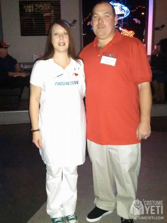 Flo from Progressive and Jake from State Farm couples costume