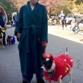 Loofa Dog and Owner Costume