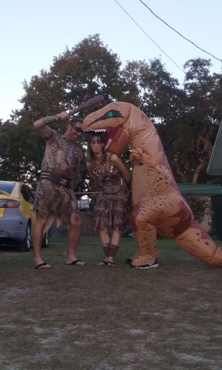 blow up dinosaur and cavemen