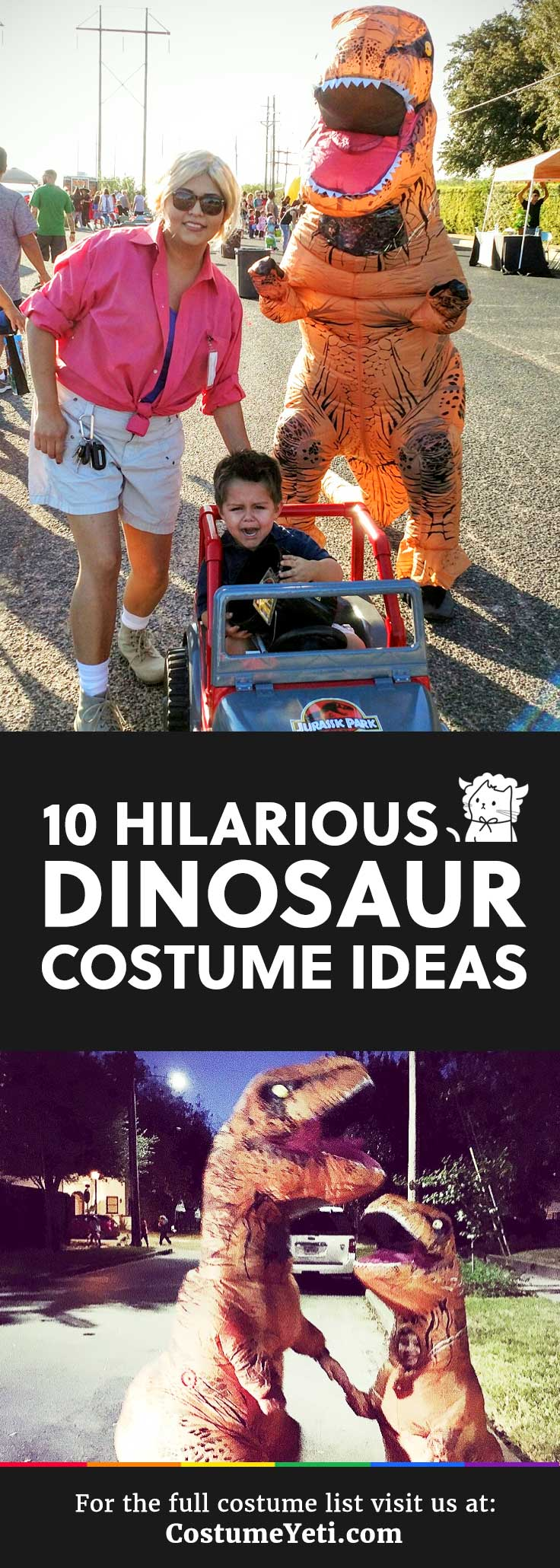 I love this inflatable t rex and these other unique dinosaur costume ideas! SO cool.